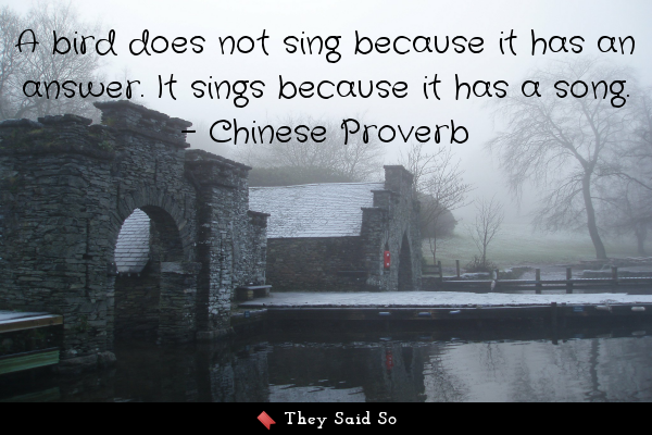 A bird does not sing because it...