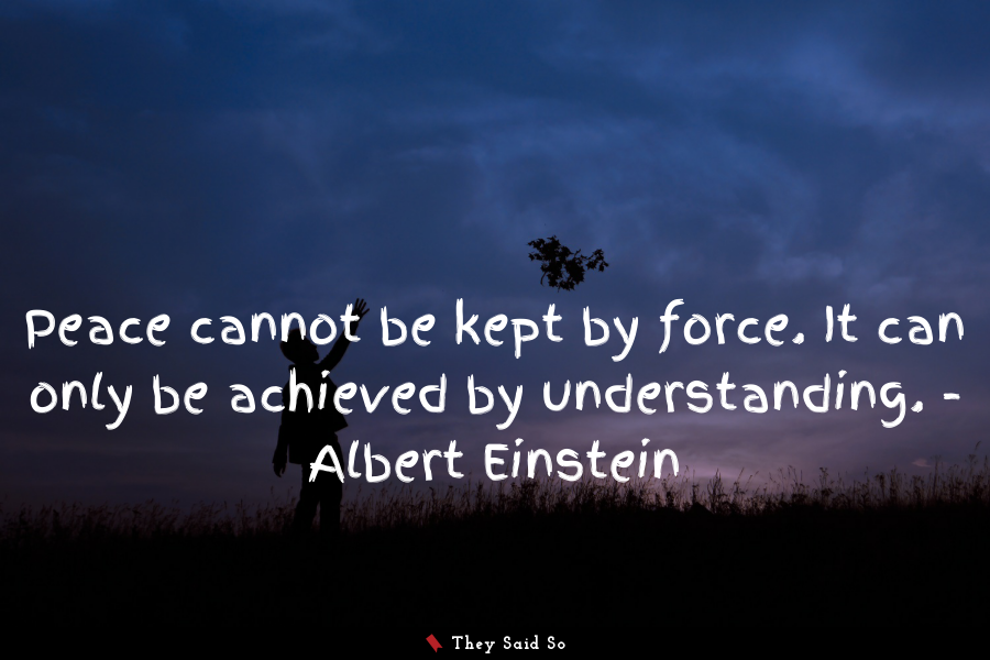 Peace cannot be kept by force. It can only be... | Albert Einstein