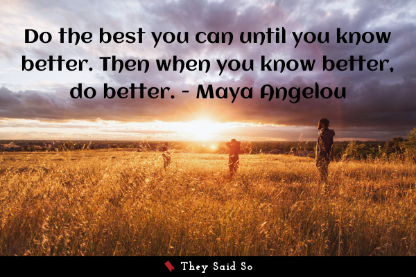 Do the best you can until you know better. Then... | Maya Angelou
