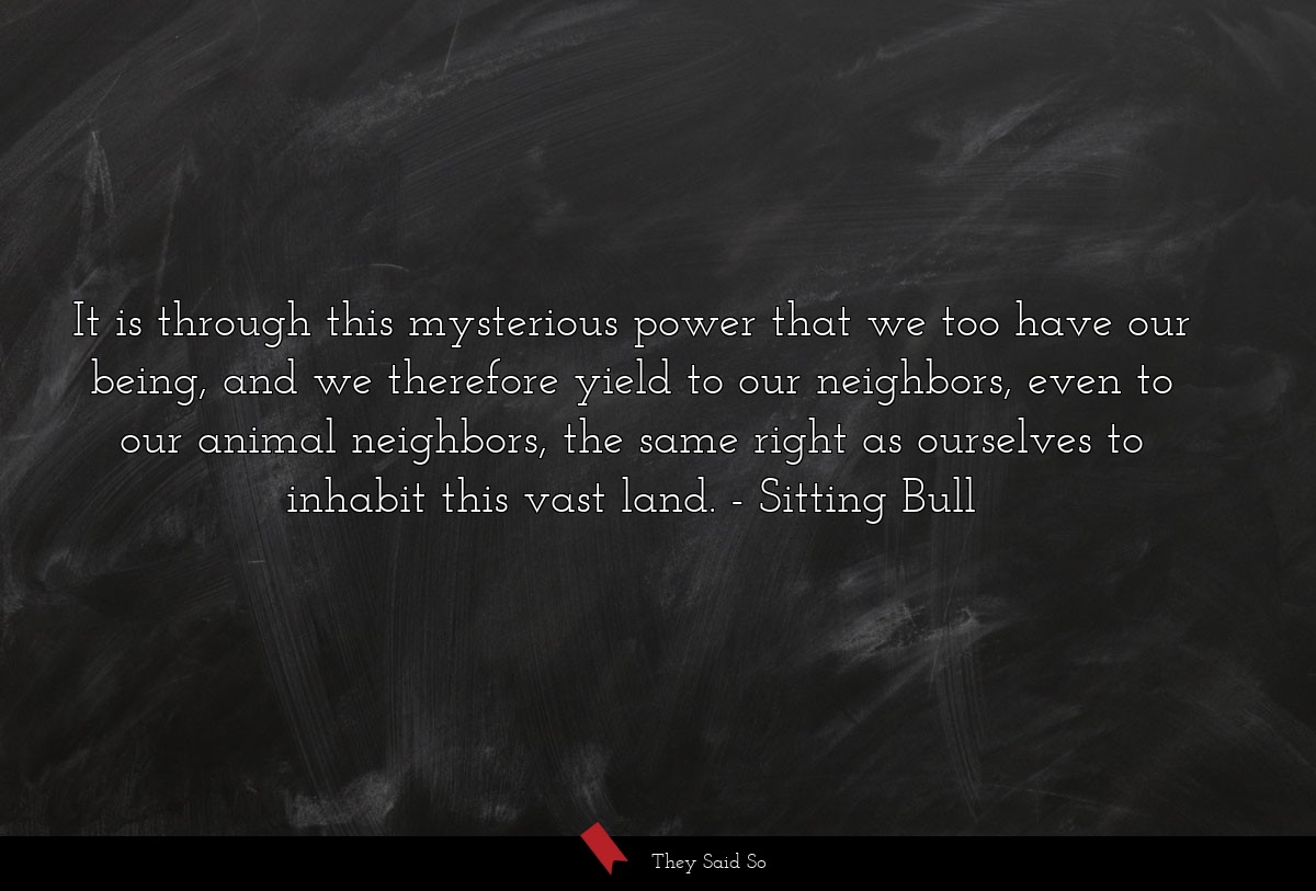 It is through this mysterious power that we too... | Sitting Bull