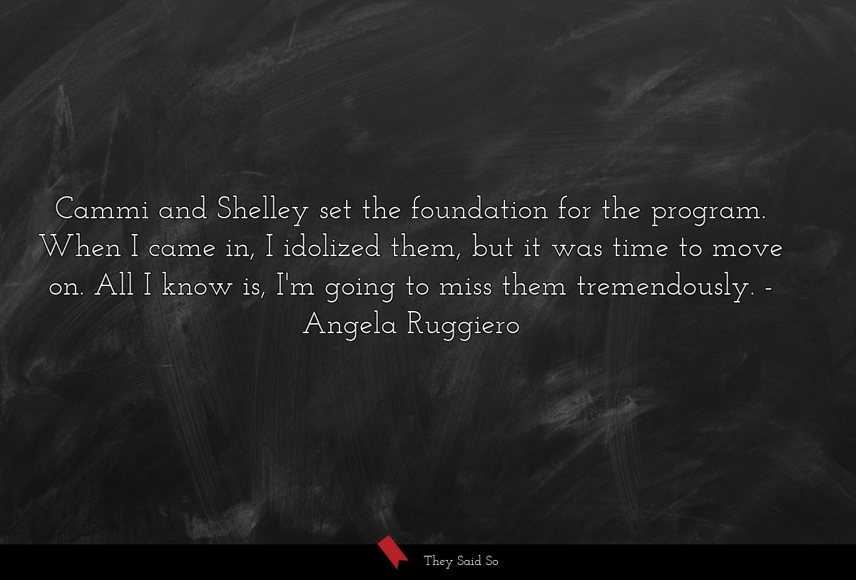 Cammi and Shelley set the foundation for the... | Angela Ruggiero