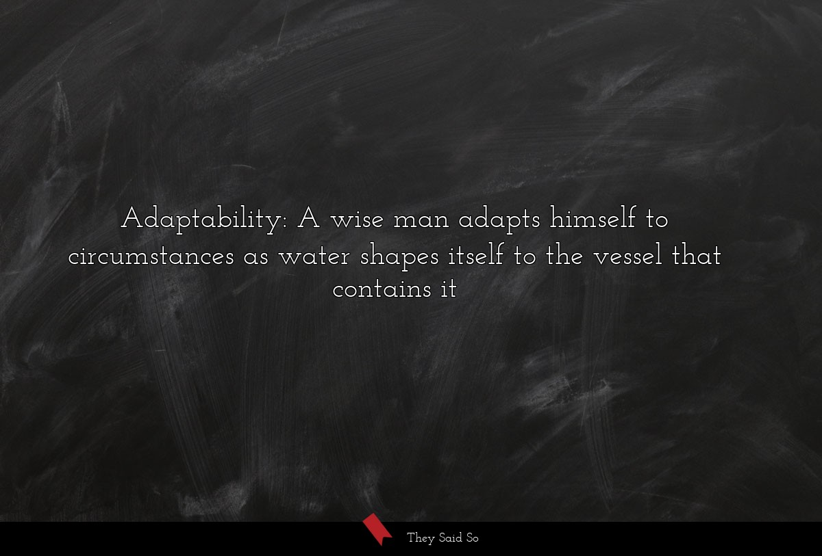 Adaptability: A wise man adapts himself to...