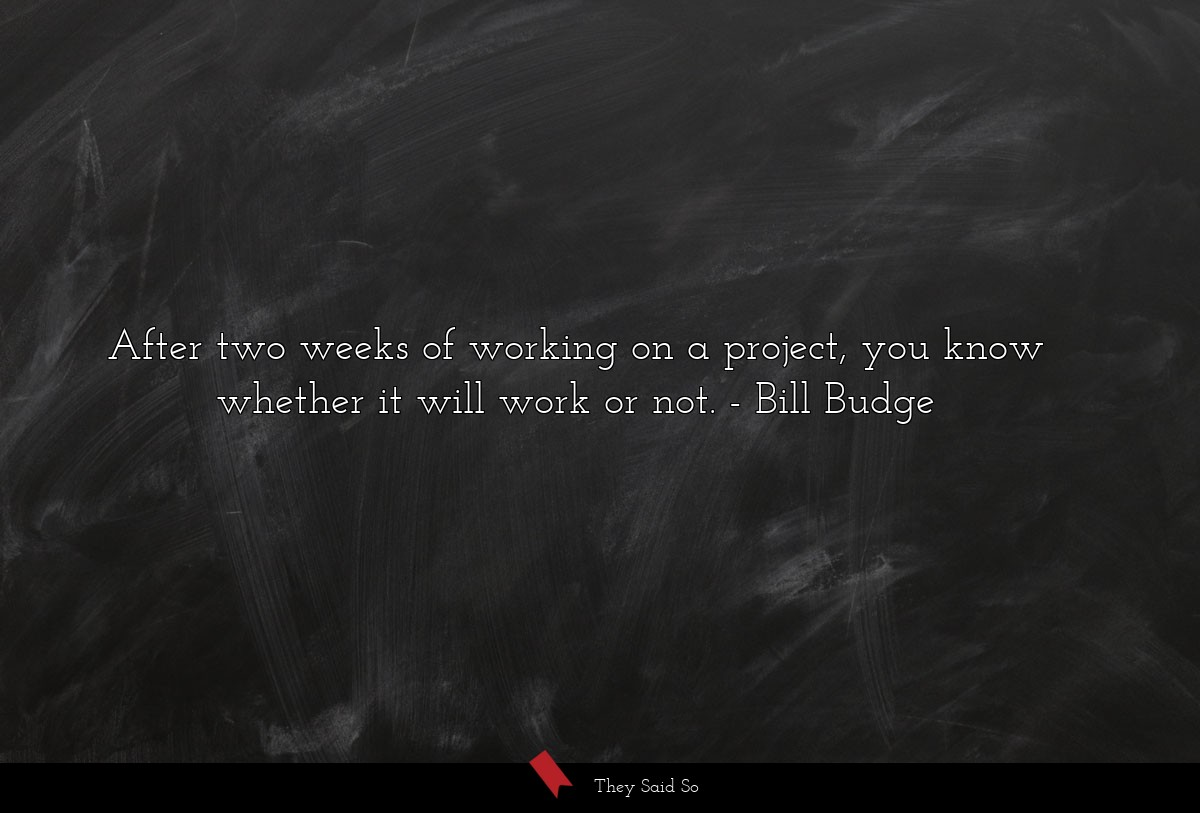 After two weeks of working on a project, you know... | Bill Budge
