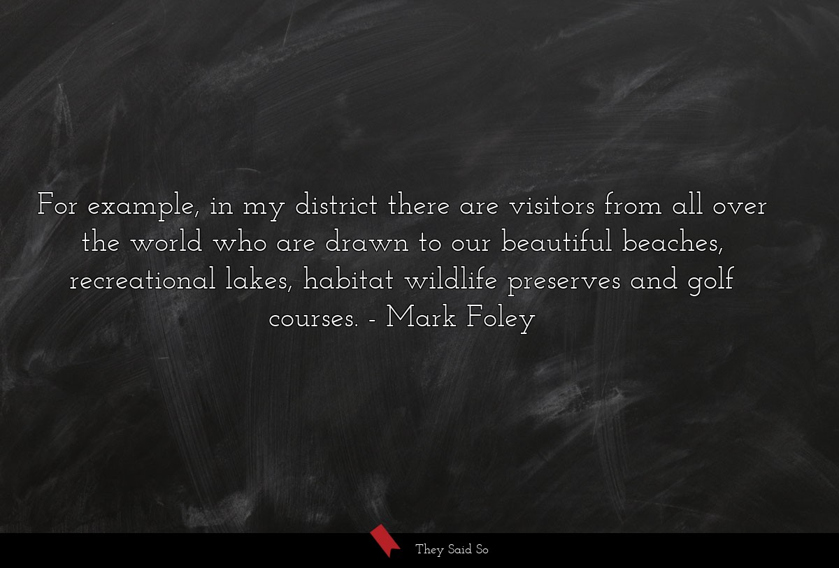 For example, in my district there are visitors... | Mark Foley