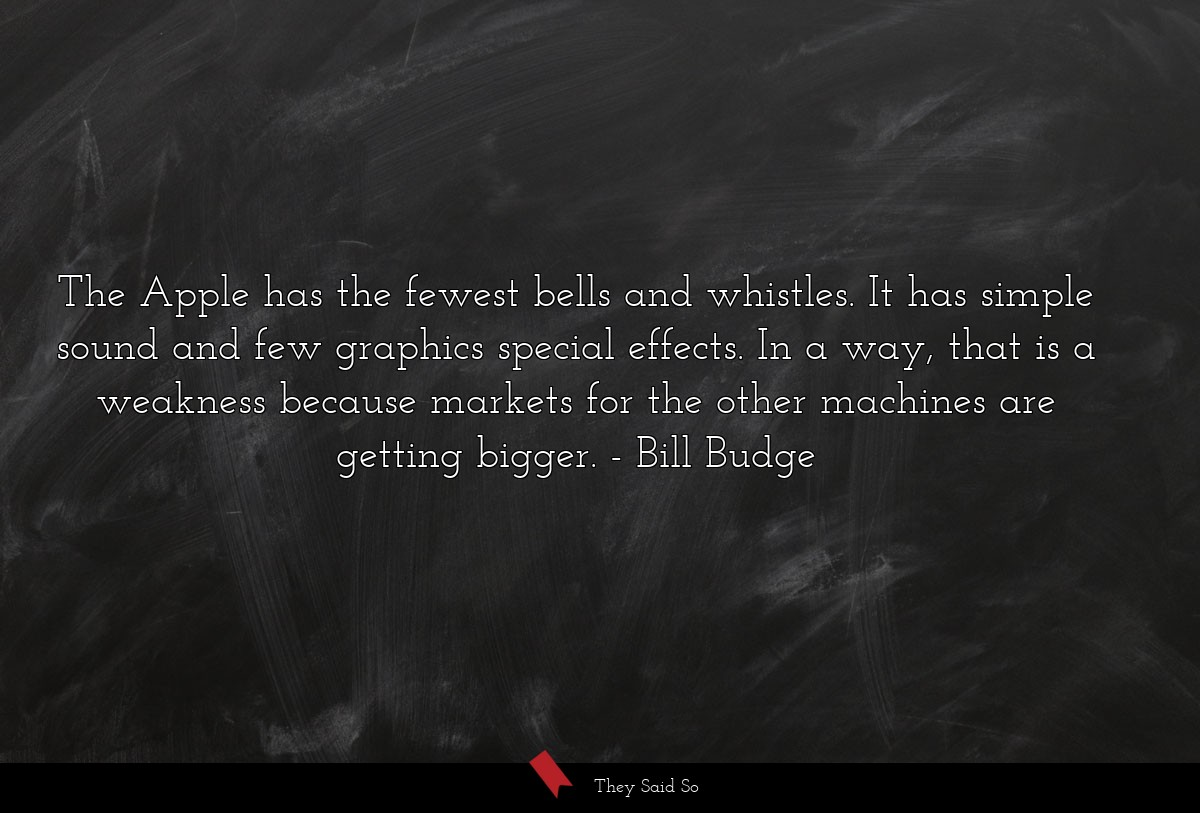 The Apple has the fewest bells and whistles. It... | Bill Budge
