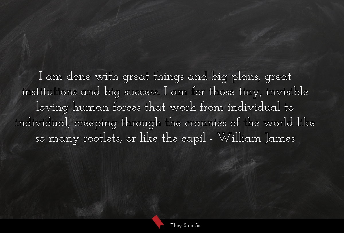 I am done with great things and big plans, great... | William James