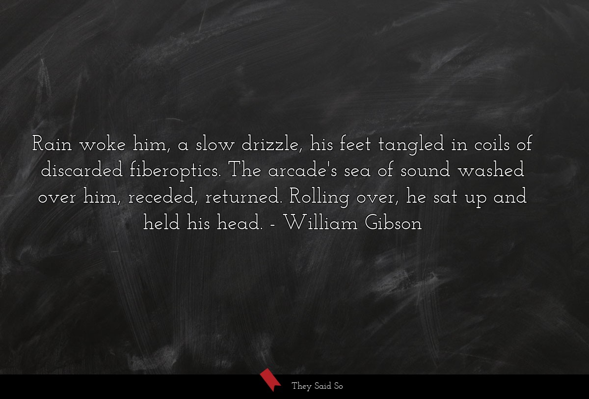Rain woke him, a slow drizzle, his feet tangled... | William Gibson