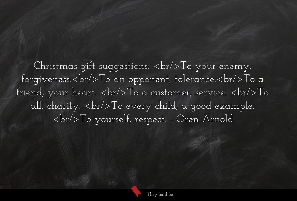 Christmas gift suggestions:<br/>To your enemy,... | Oren Arnold