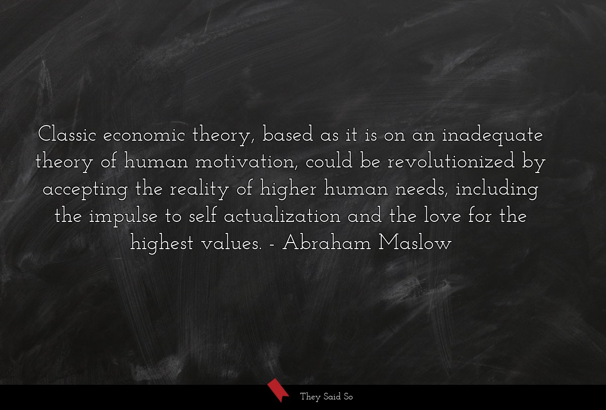 Classic economic theory, based as it is on an... | Abraham Maslow