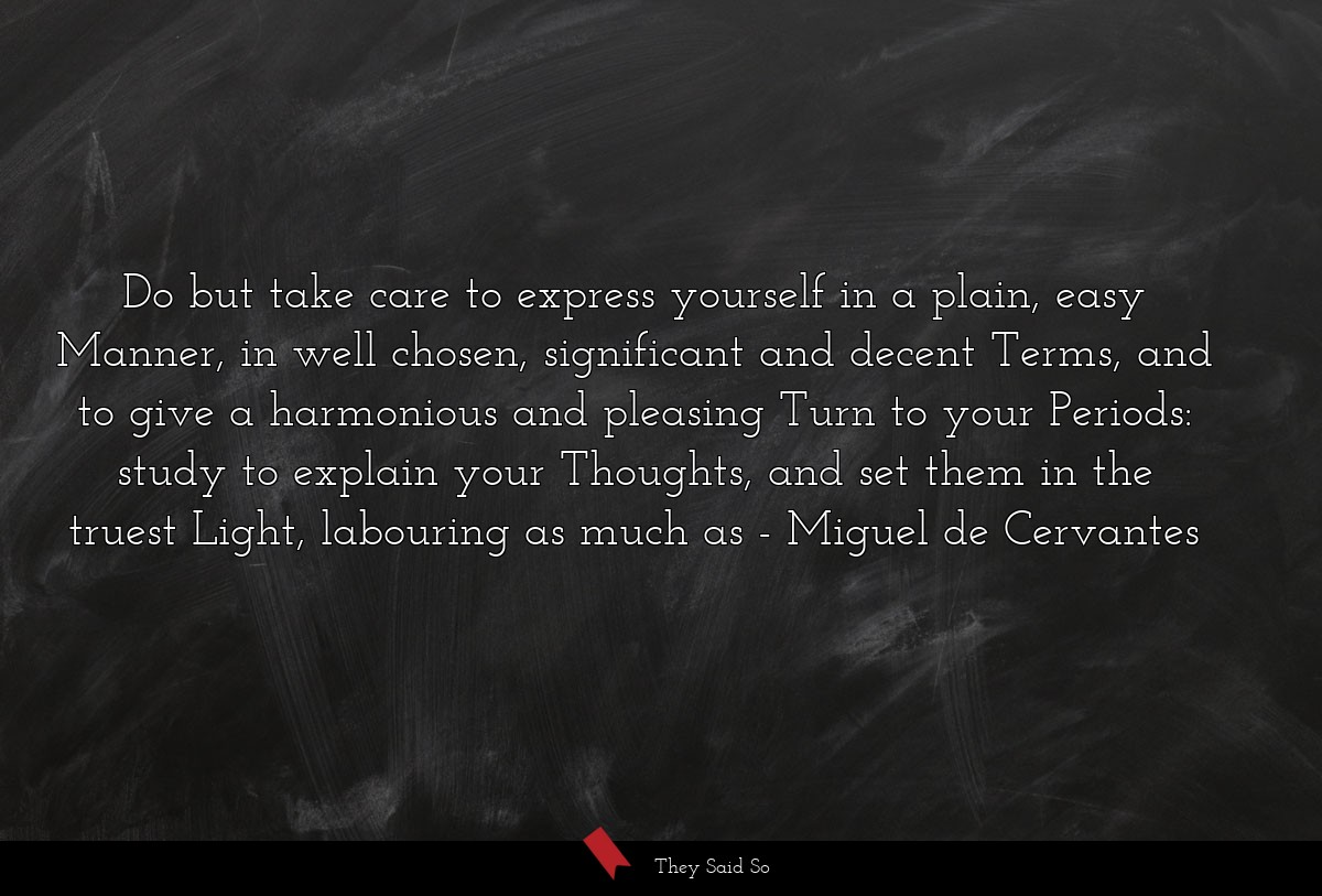Do but take care to express yourself in a plain,... | Miguel de Cervantes